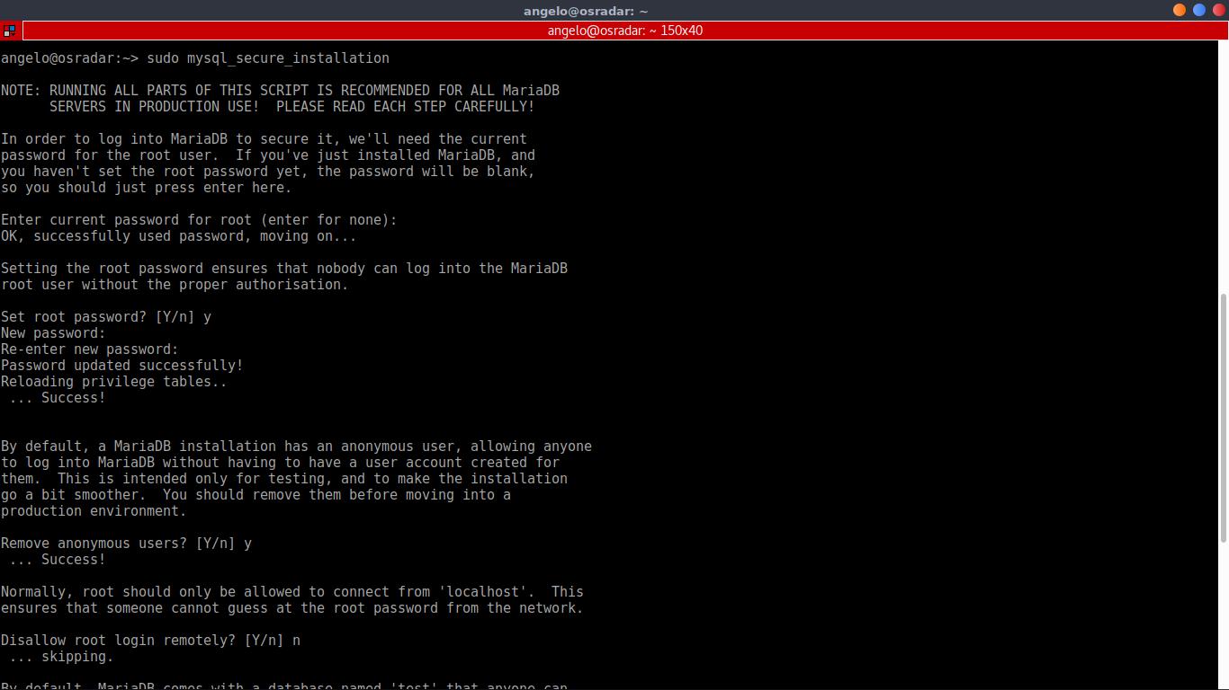 1.- Running the mysql_secure_installation script