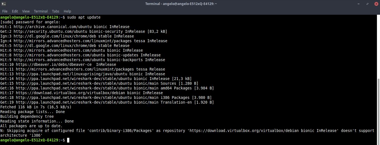 2.- Running the APT cache