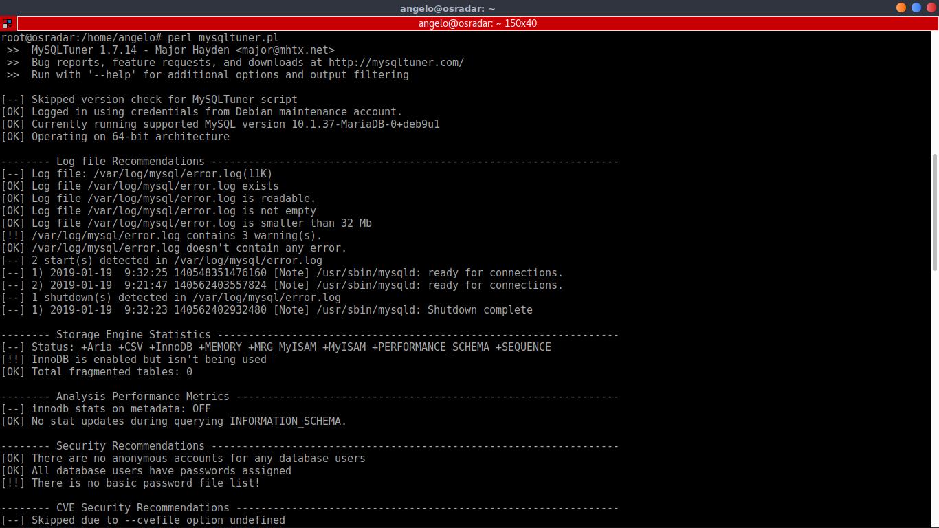 4.- Optimize MySQL / MariaDB with MySQLtuner