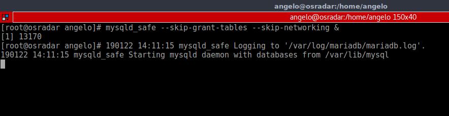 4.- Running Mysql on a safe mode