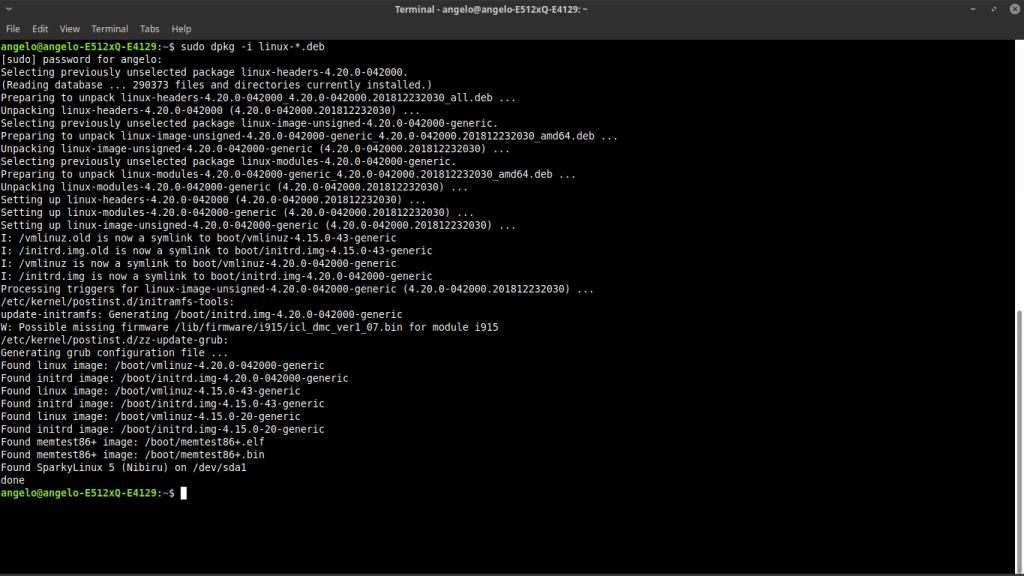 4.- Install Linux Kernel 4.20