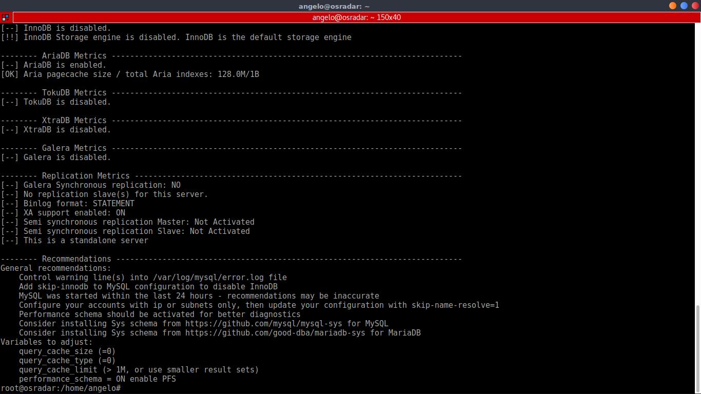 5.- Optimize MySQL / MariaDB with MySQLtuner