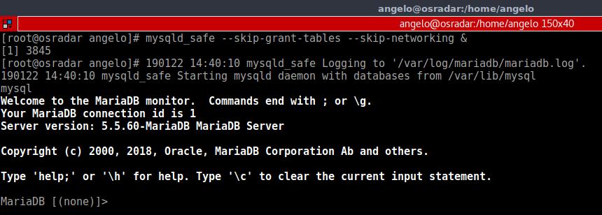 5.- Log in into Mysql or MariaDB shell