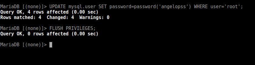 6.- Reset the root password