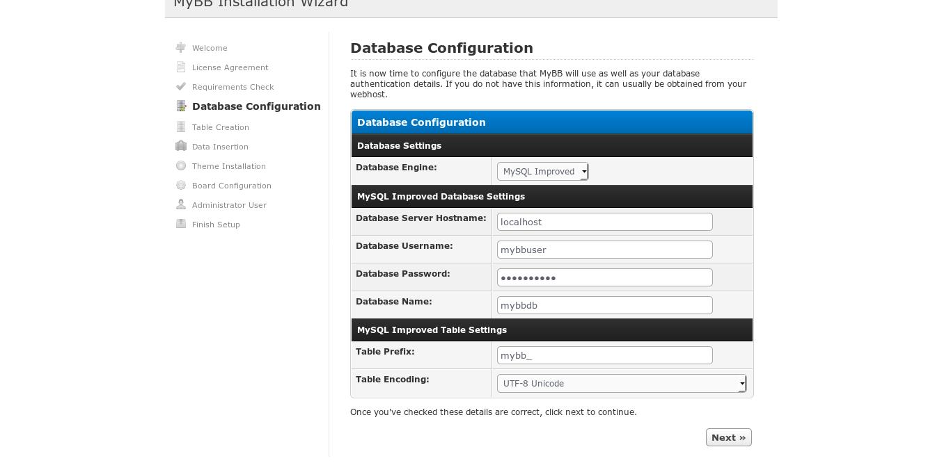 13. Database configuration