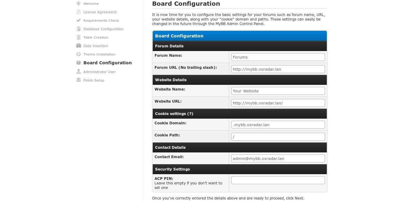 17.- Board configuration