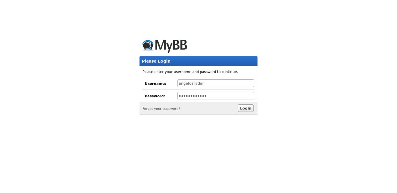 20.- MyBB log in screen