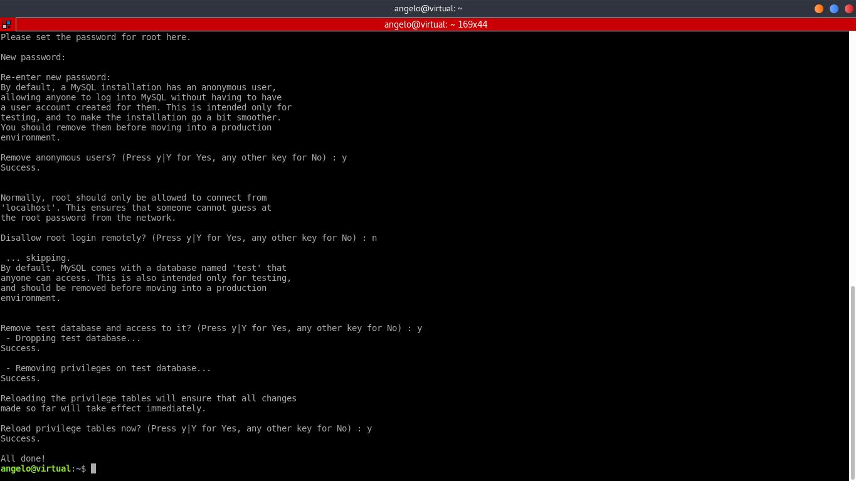 4.- Using the mysql_secure_installation script