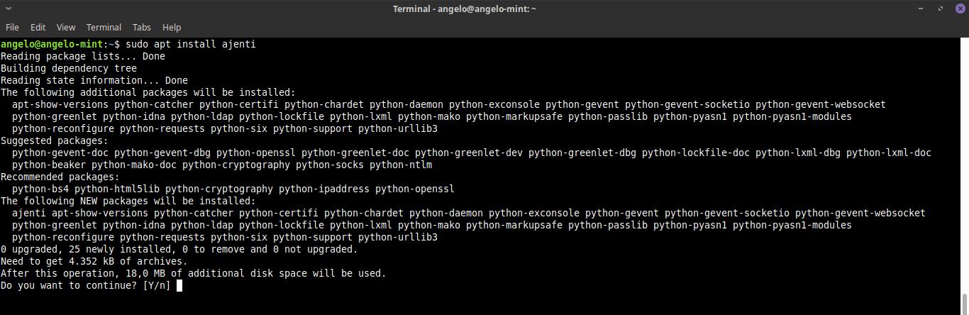 5.- Install ajenti on Ubuntu 18.04