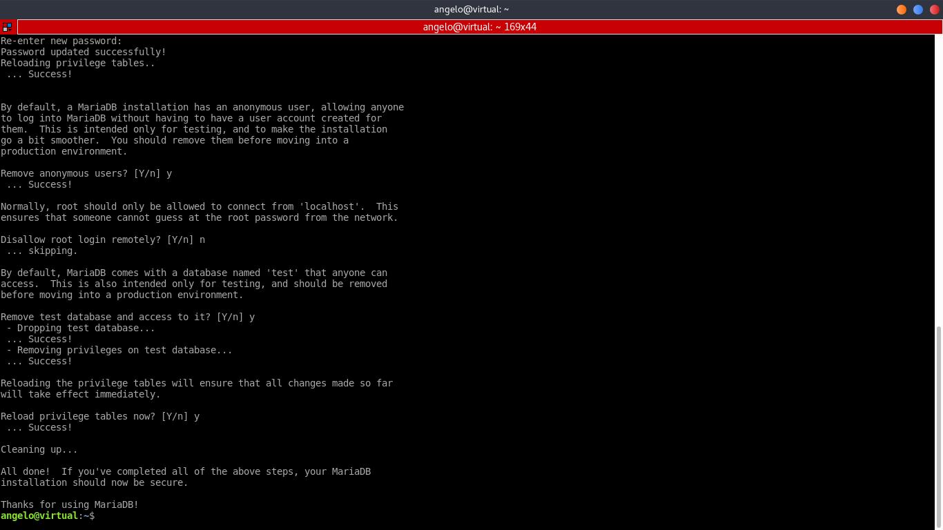 7.- Using the mysql_secure_installation script