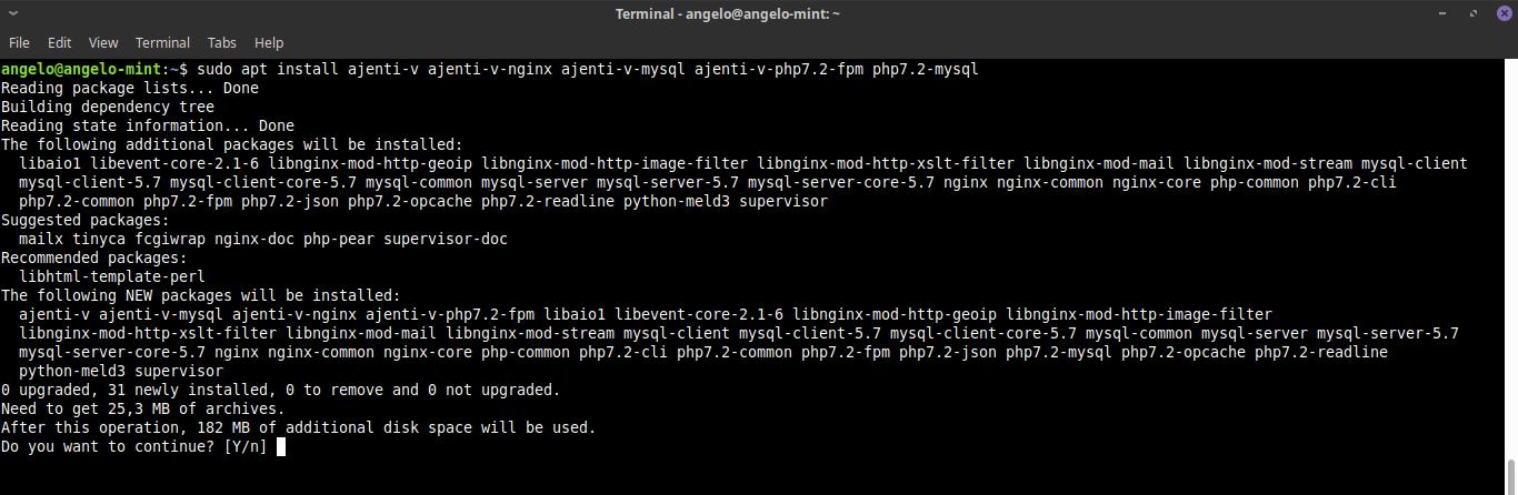 8.- Install the Ajenti V plugin
