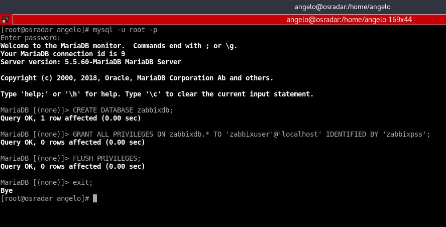 8.- Creating the database for zabbix