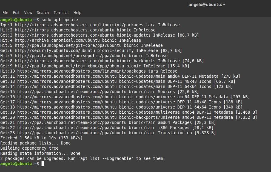 2.- Update the repositories