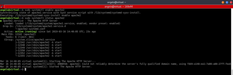 2.- The Apache2 service