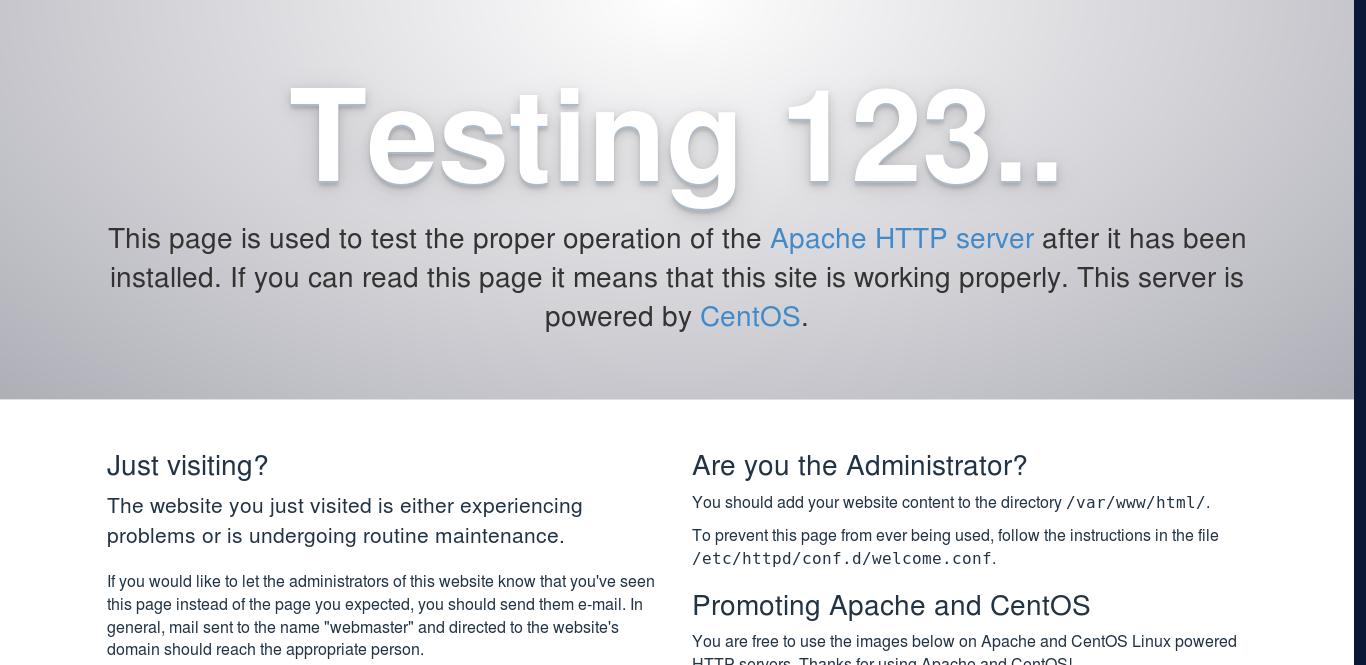 4.- Apache default page