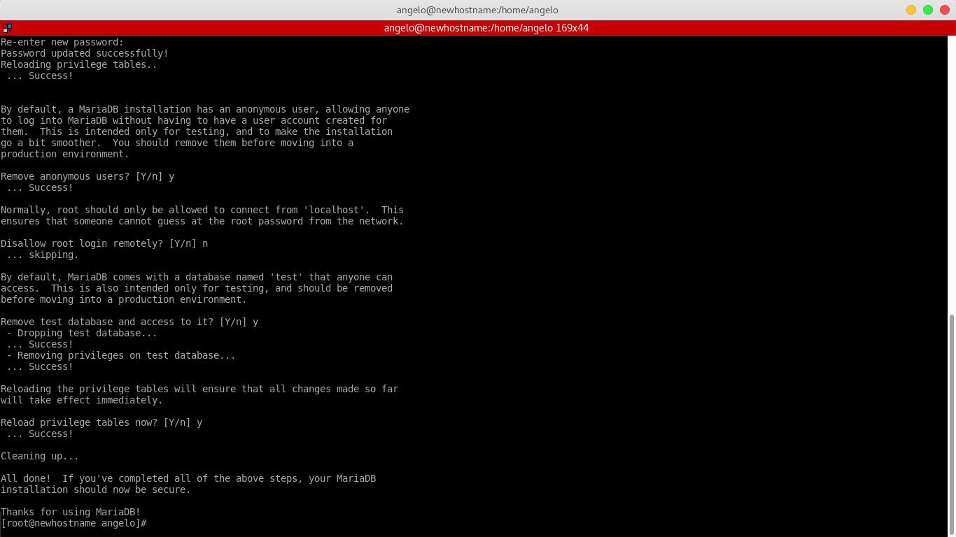 6.- Using the mysql_secure_installation