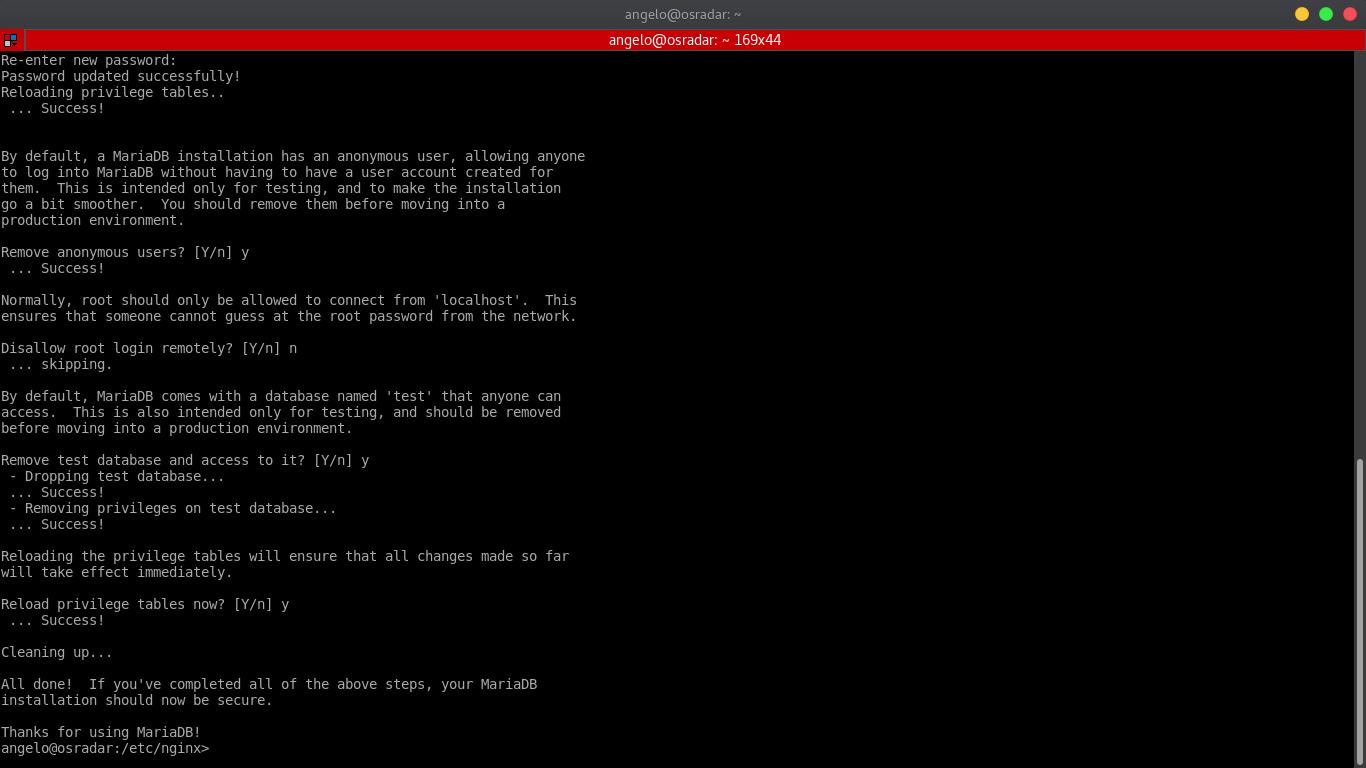 9.- Configuring Mariadb