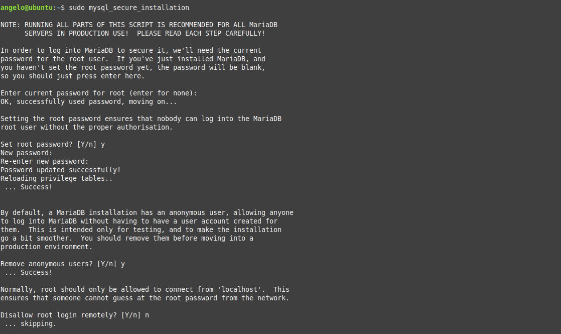 1.- MySQL secure installation script