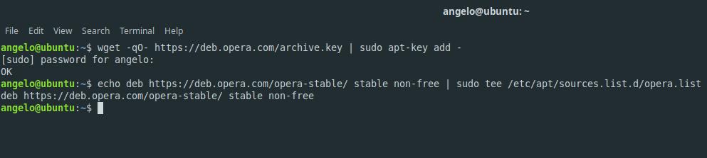 2.- Add the Opera repository