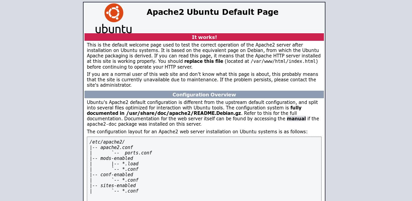 2.- Apache default page