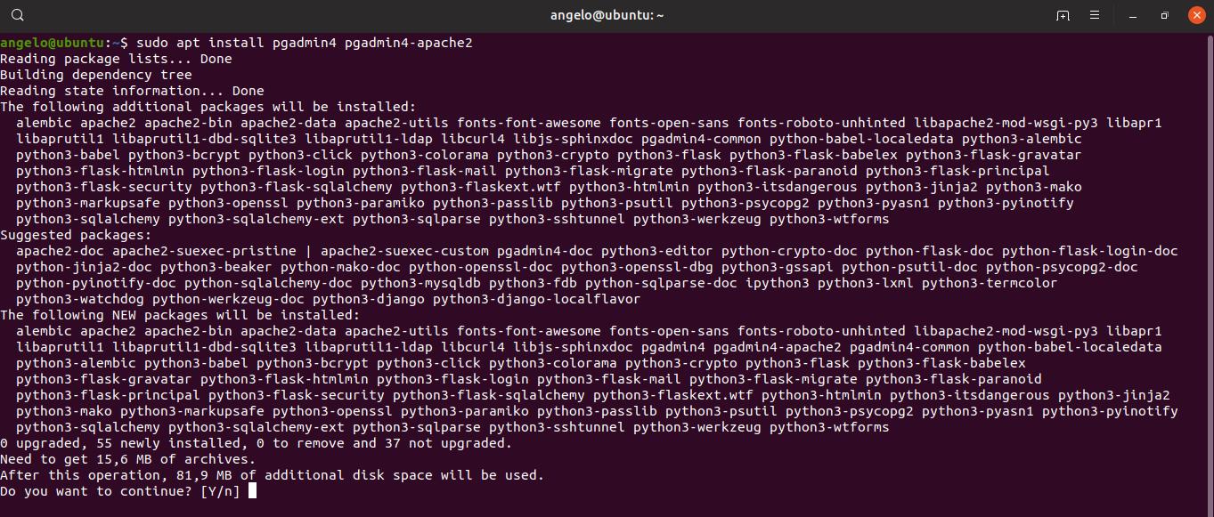 2.- Install pgAdmin4 on Ubuntu 19.04