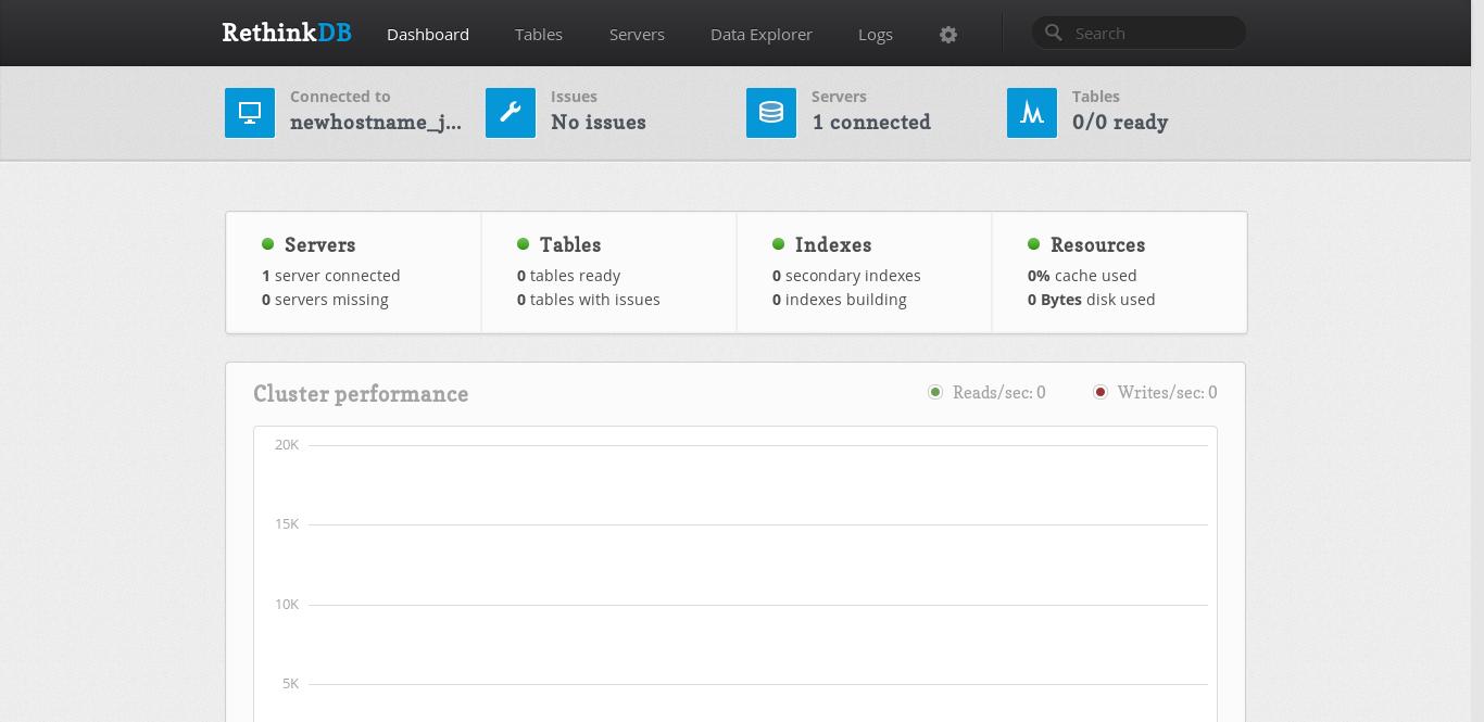 8.- RethinkDB web interface