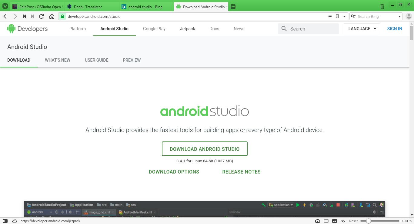 1.- Android Studio website