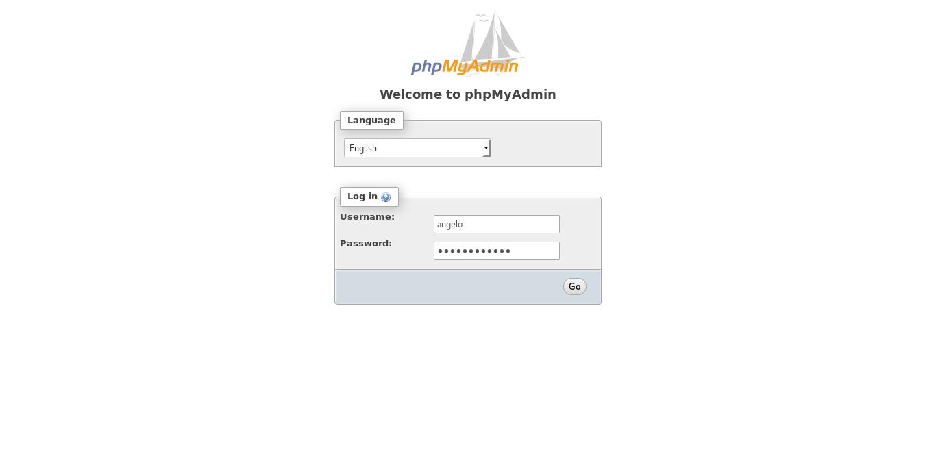 2.- Phpmyadmin log in