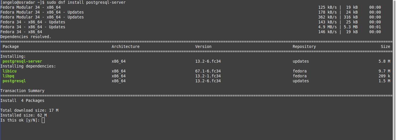 2.- Install PostgreSQL on Fedora 34