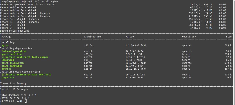 2.- Install Nginx on Fedora 34