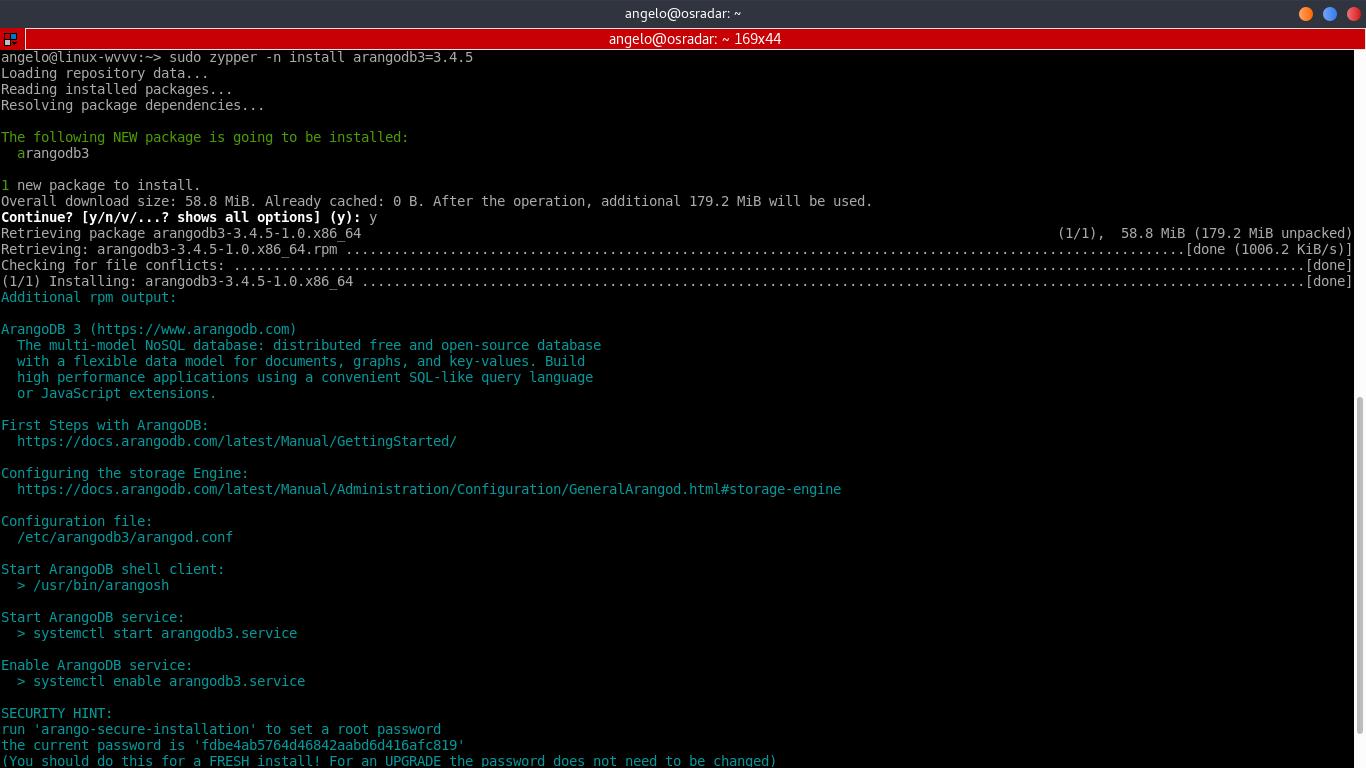 3.- Install ArangoDB on OpenSUSE