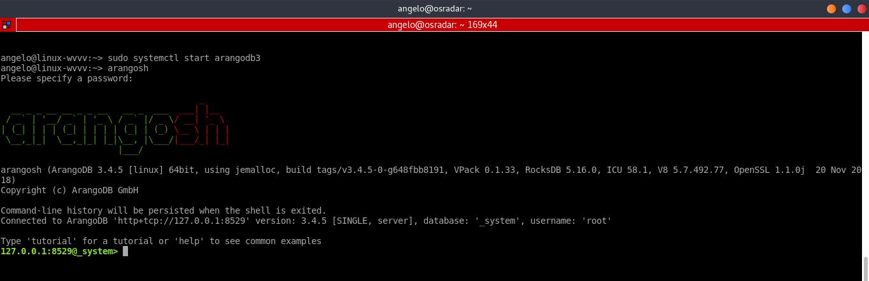 5.- ArangoDB shell running