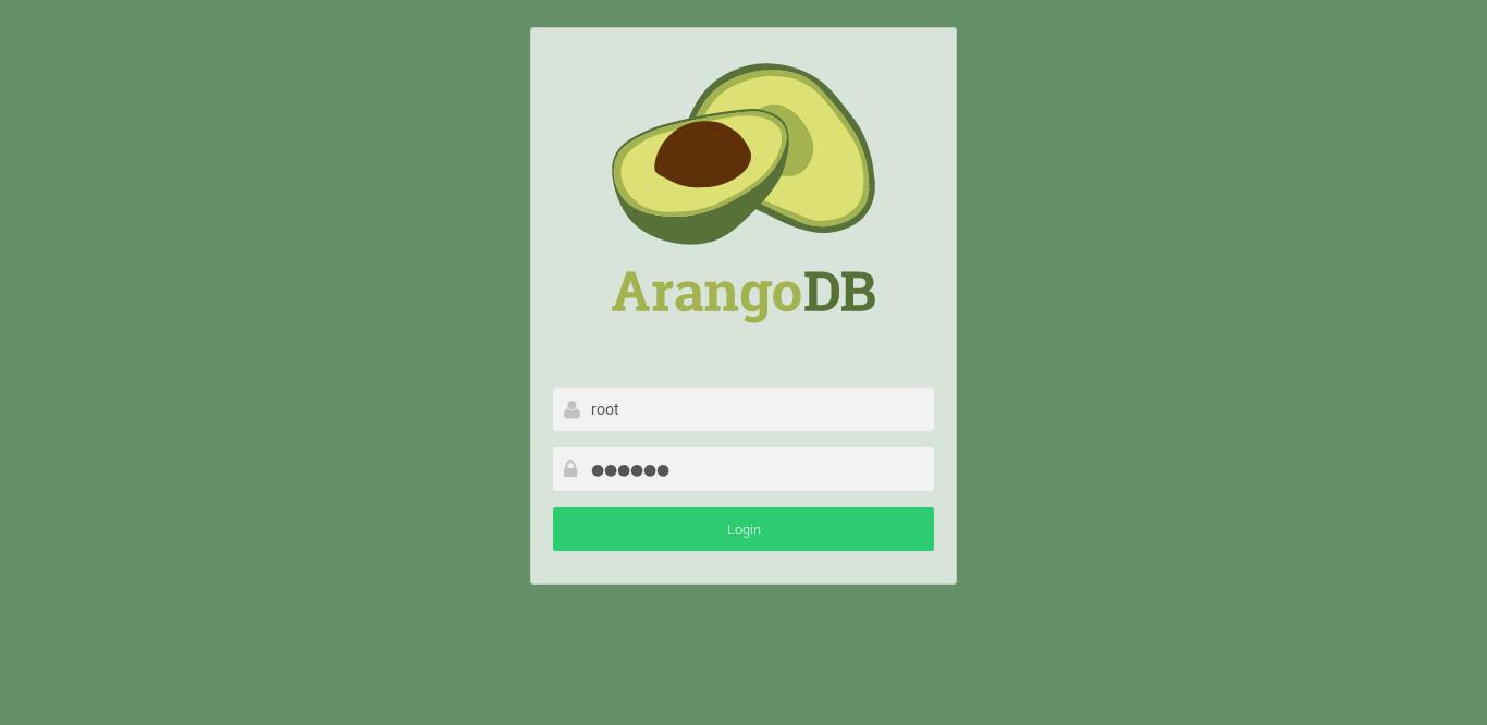 8.- Log in into the ArangoDB web tool