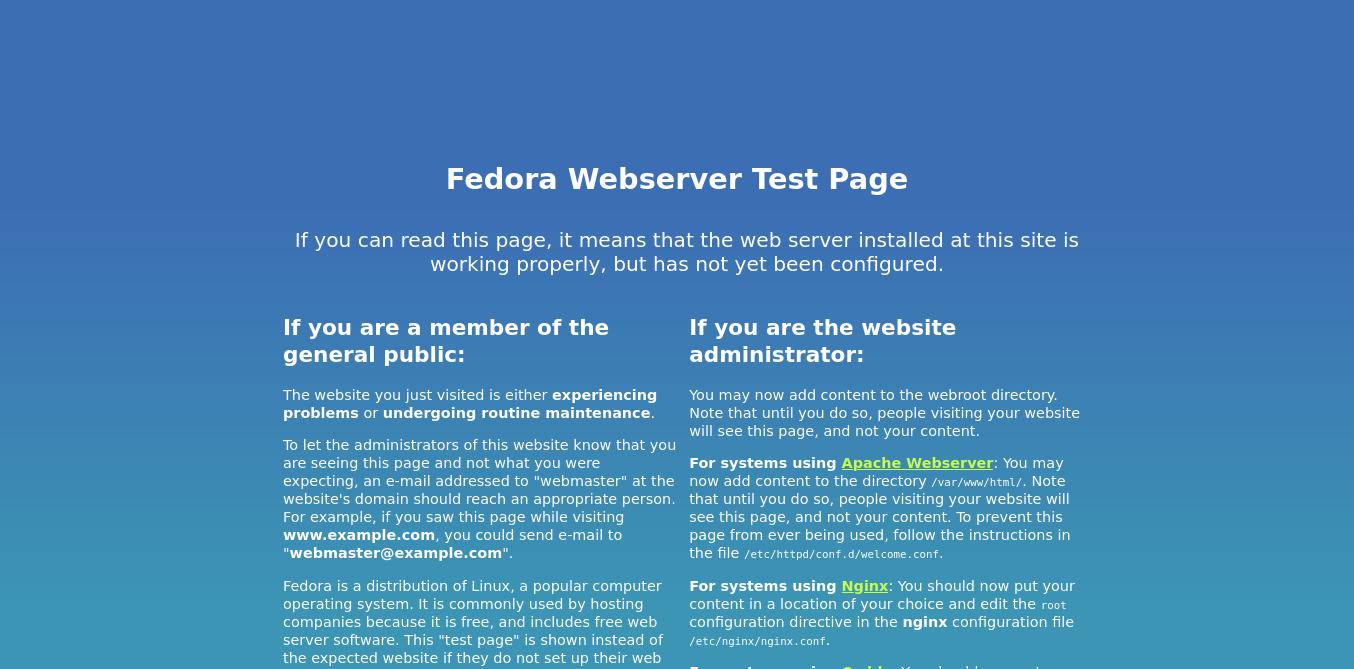 3.- Nginx working on Fedora 34