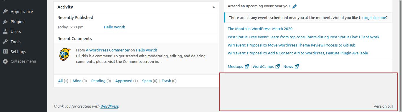 21.- WordPress 5.4 installed
