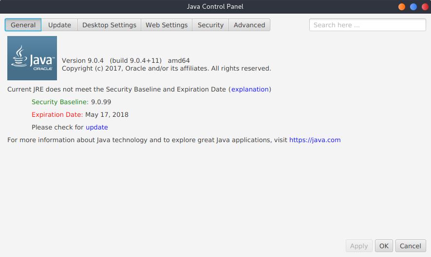 1.- Java control panel
