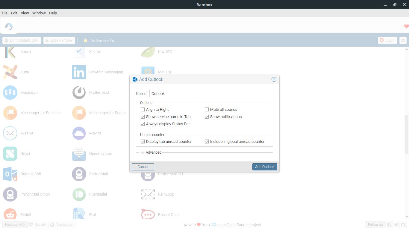 2.- Adding a service on Rambox