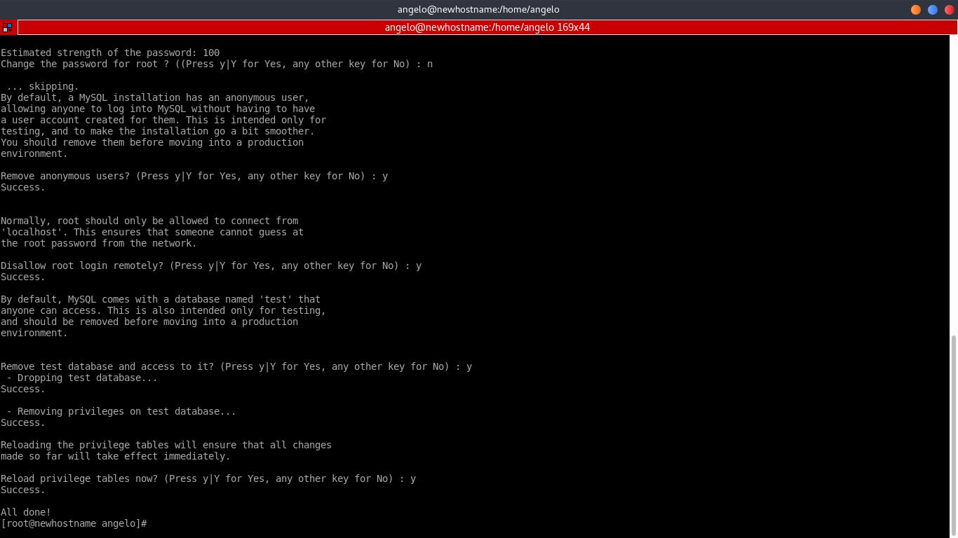 6.- secure the MySQL installation