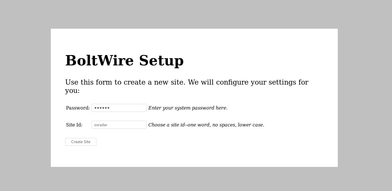 7.- Boltwire Setup