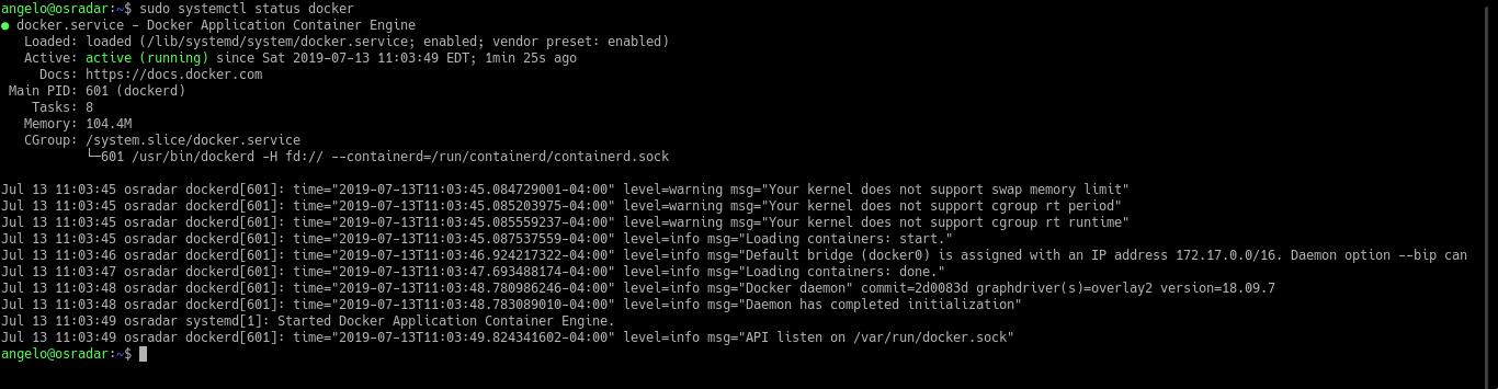 3.- Docker is running