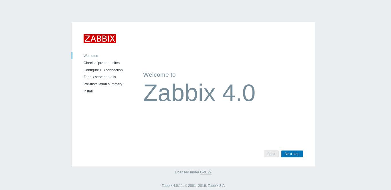4.- Zabbix front end page