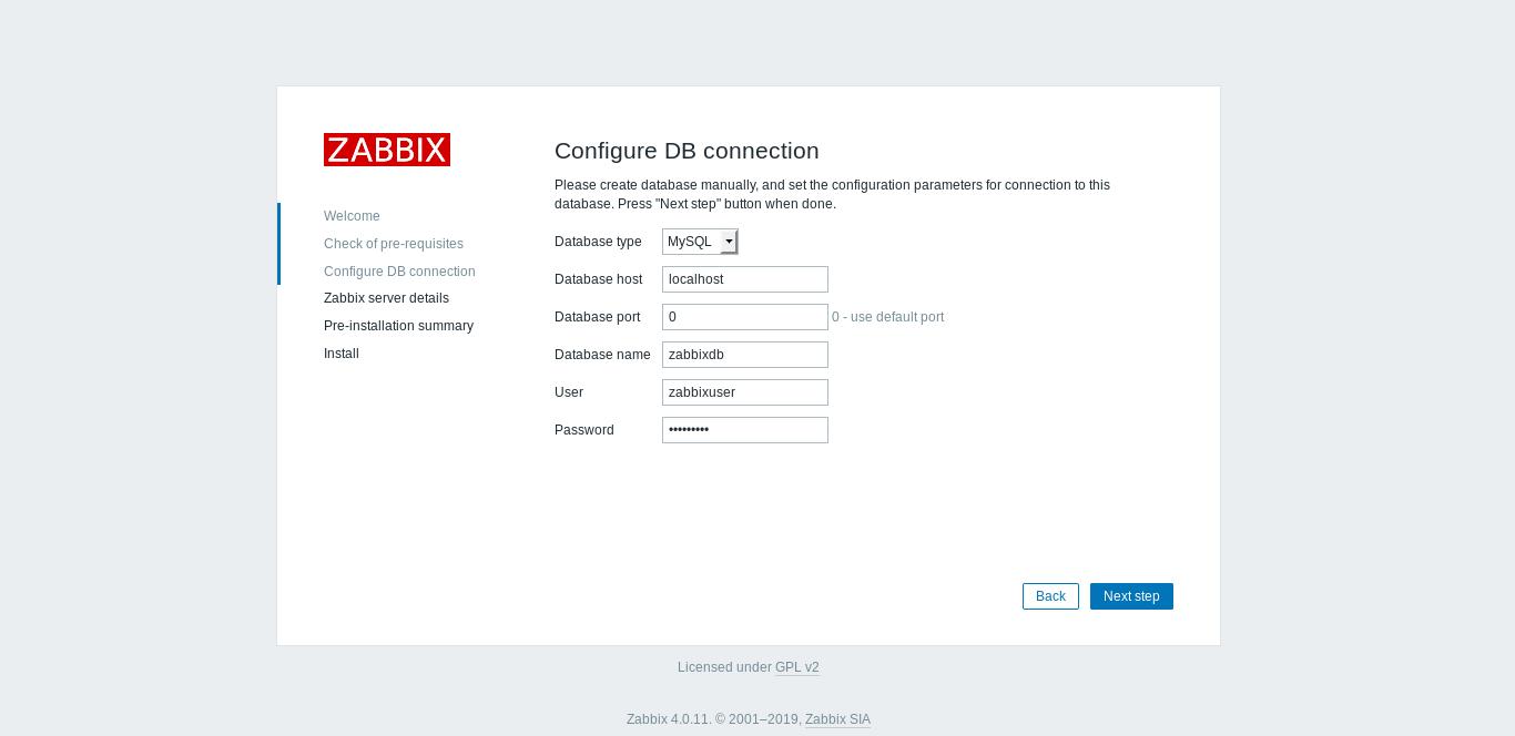 6.- DB connection on Zabbix