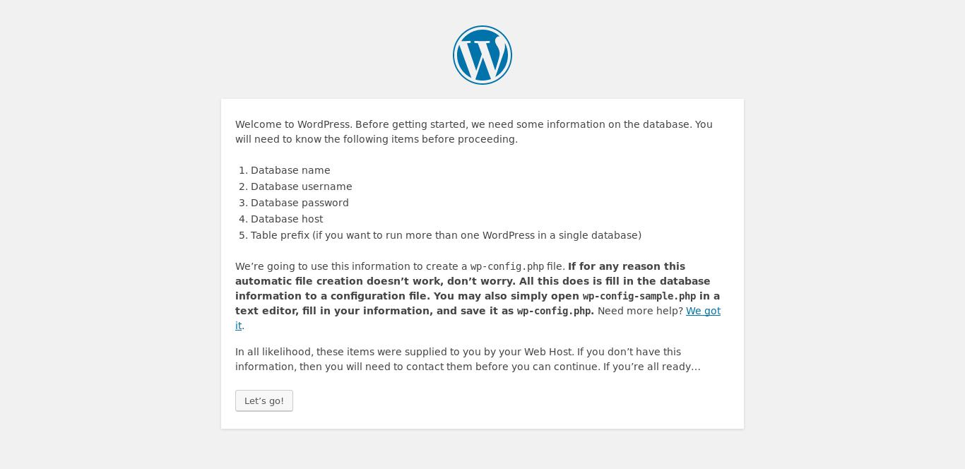 8.- WordPress installation