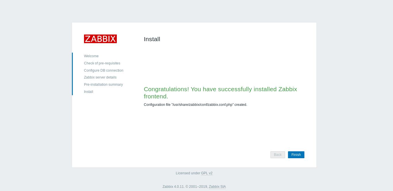 9.- Zabbix is successfully installed on Debian 10