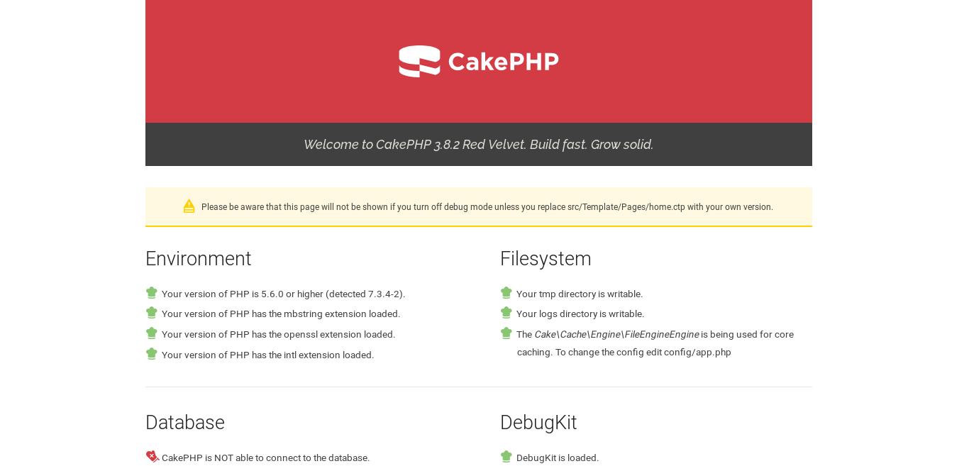 3.- CakePHP running