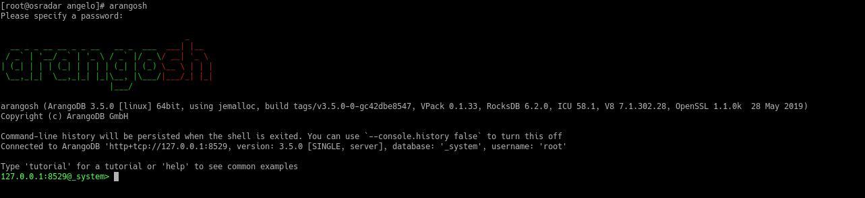 4.- ArangoDB shell on CentOS 8 / RHEL 8 / Oracle Linux 8