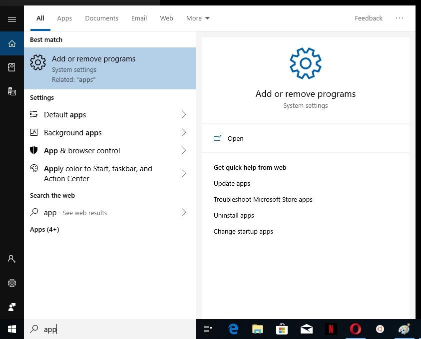 Entering in Add or remove programs