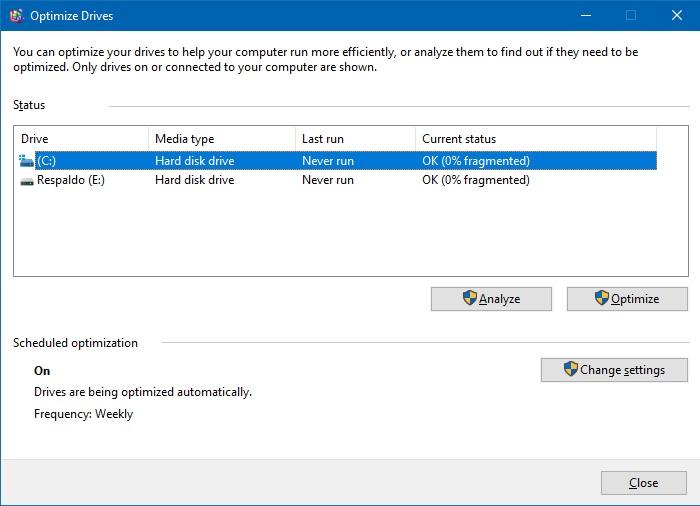 Optimizing drives by defragments hard drives