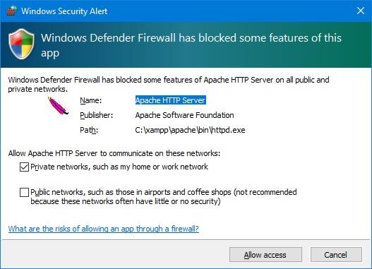 Setting communication through  windows firewall