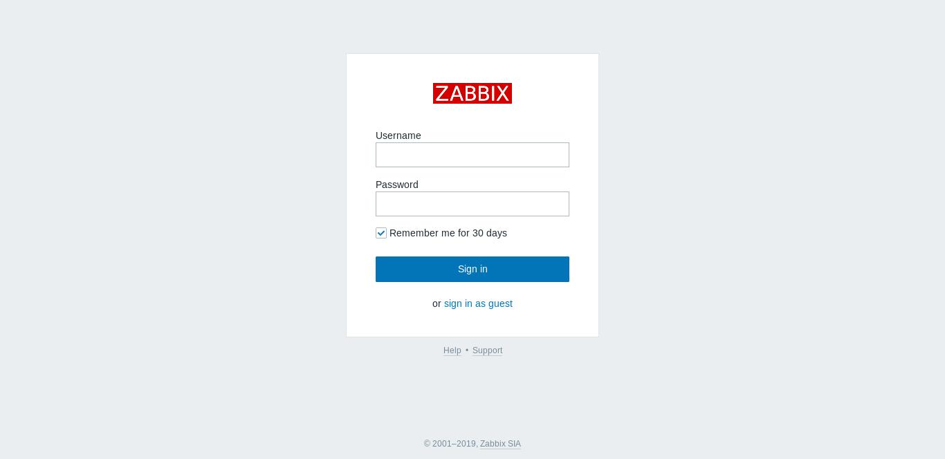 10.- Zabbix log in page